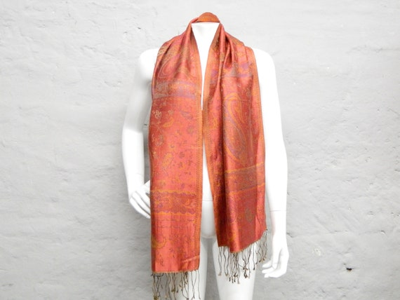 Silk scarf/80s scarf silk/scarf red/cloth with fringe/vintage scarf silk/Paisley scarf