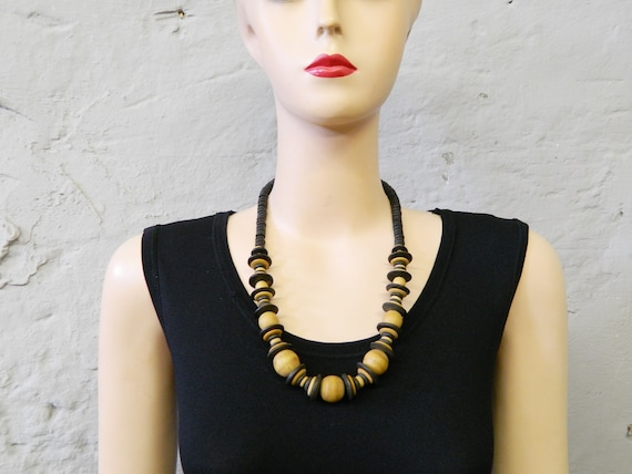 Pearl necklace wood/80s necklace/vintage wooden necklace/wooden beads/chain black nature