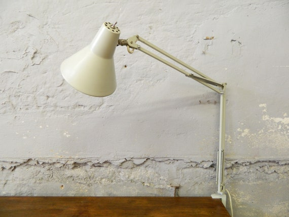 50s lamp SIS / office lamp / clamping lamp / vintage desk lamp / articulated lamp grey