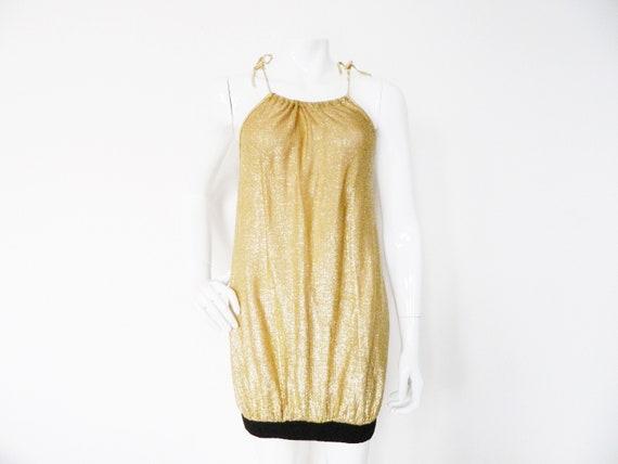 70s dress Gold/vintage minidress/Gold dress/vintage Goldmarie/70s party dress