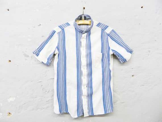 70s blouse/blouse cotton/blouse shirt/vinatge blue white