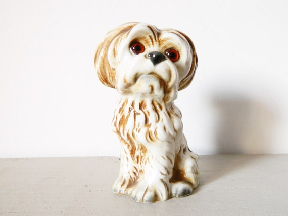 Porcelain dog/Vintage lamp, 50 years lamp/Table lamp dog/mid century table lamp/bedside Light