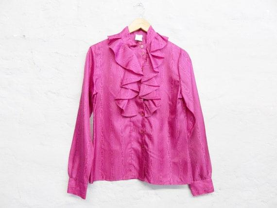 70s Blouse/Blouse pink/vintage Blouse Ruffles/Ruffle Blouse/70s Top