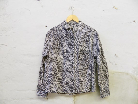 80s blouse/blouse pusteblumen/shirt black white/vintage blouse black/blouse cotton/blouse jacket/vintage jacket