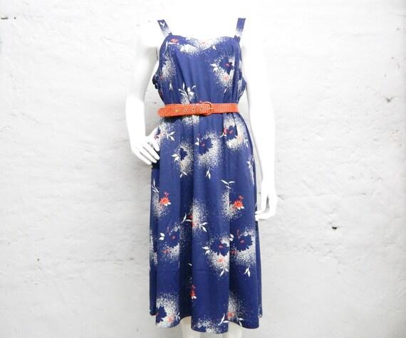70s dress oversize/vintage summer dress blue red white/dress XXL/carrier dress