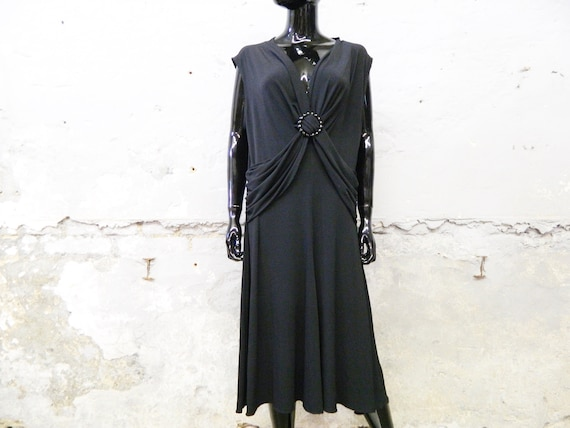 Cocktail dress black 1980s / evening dress / overs