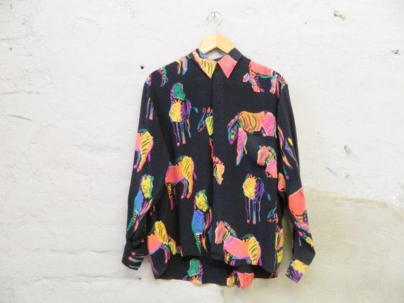 Blouse Zebra silk/vintage blouse black colorful/80s blouse/patterned blouse/1980s blouse silk