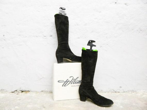 Boots Wiland/70s Boots Suede/Suede boots black/vintage Leather boots/Boots to Dress/70s shoes