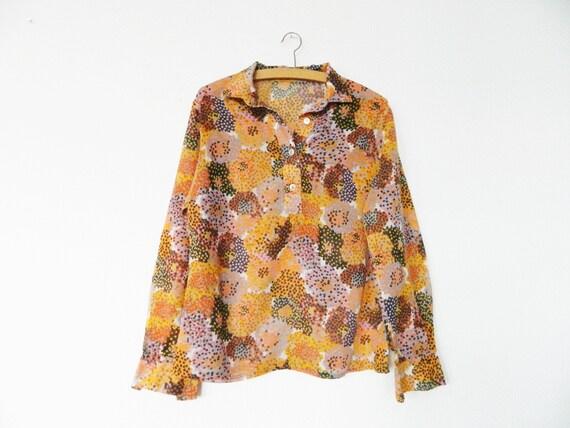 Hippie tunic blouse/vintage blouse colorful/floral blouse/70s tunika/1970s blouse flower