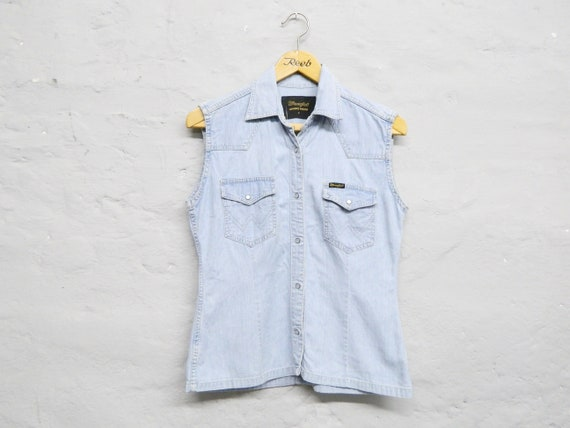Wrangler denim vest/denim blouse/vintage blouse jeans/vintage shirt Wrangler/light blue denim vest/denim shirt