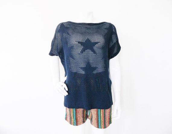 Vintage sweater/Sweater Blue/80s jumper/pullover star/Vintage Sweater stars/1980 's Sweater