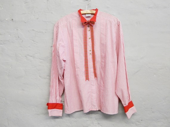 70s Blouse/vintage Blouse red/Blouse striped/vintage shirt/70s Top
