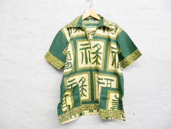 Men's shirt/short sleeve shirt/70s shirt/men tunic/vintage shirt Thailand/shirt green