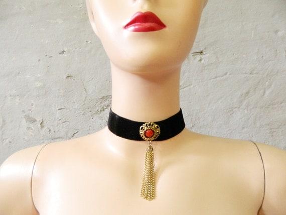 Vintage choker / vintage necklace / 70s choker velvet / 70s jewelry / fashion jewelry