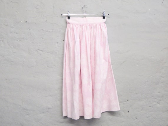 60s Skirt/pink Skirt/vintage Skirt rose/Skirt Cotton/Midi Skirt