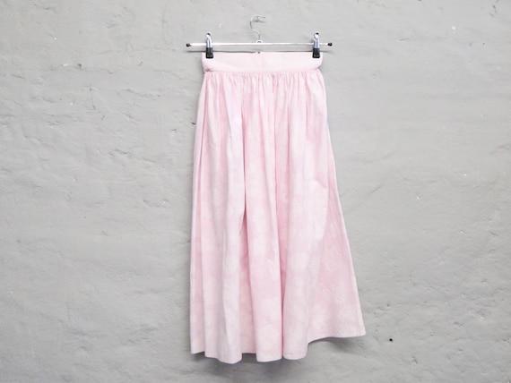 60s Skirt/pink Skirt/vintage Skirt rose/Skirt Cotton/Midi Skirt