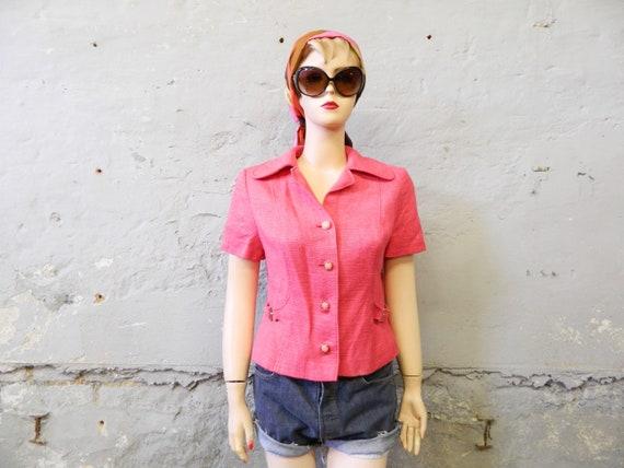 Short jacket/70s jacket/short sleeve blazer/vintage blazer/jacket pink/1970s jacks