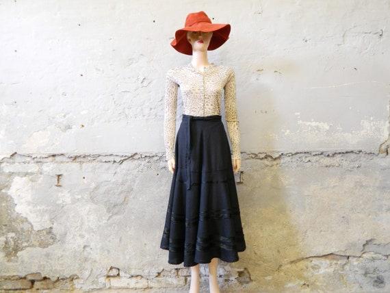 70s skirt/skirt black/long skirt/vintage maxirock wide