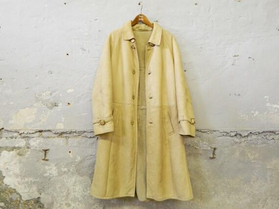 Men's leather coat 70s / vintage coat leather fur / leather coat beige men