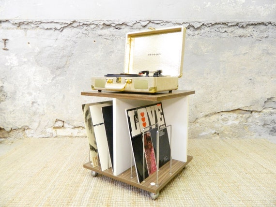 Vinyl Cube/70s Table/Roller cart/Record Stand/side table/Vinyl Stand/Turntable table/Hifi