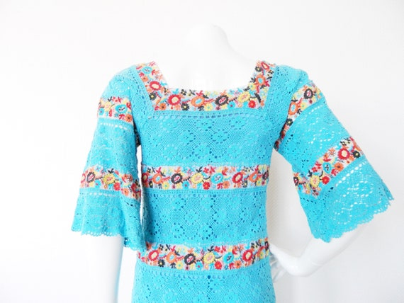 70s dress/Beautiful 70s dress/maxi dress/crochet dress/Vintage dress Blue/Vintage Dress