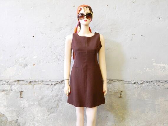80s case dress / Dress Claude Zana Paris / vintage dress short / mini dress / case dress brown