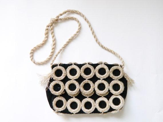 1970s bag / vintage evening bag / vintage bag / 70s evening bag / bag velvet, party bag