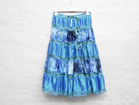 80s Skirt/vintage Skirt long/gipsy Skirt turquoise/Satin Taft/Boho