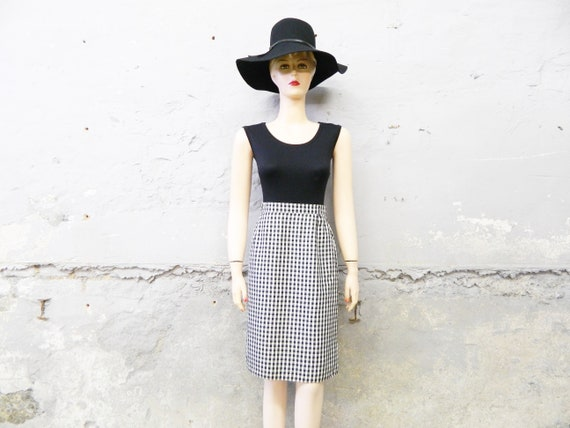 70s skirt/vinatge skirt black white/pencil skirt/high waist skirt office
