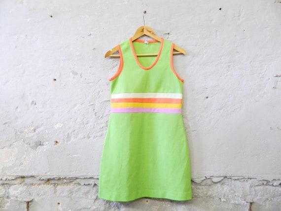 70s dress/rainbow dress/vintage dress apple green/mini dress/dress colorful