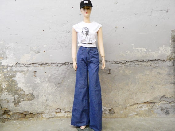70s jeans/vinatge pants/batting jeans 1970s/blue jeans/wide jeans