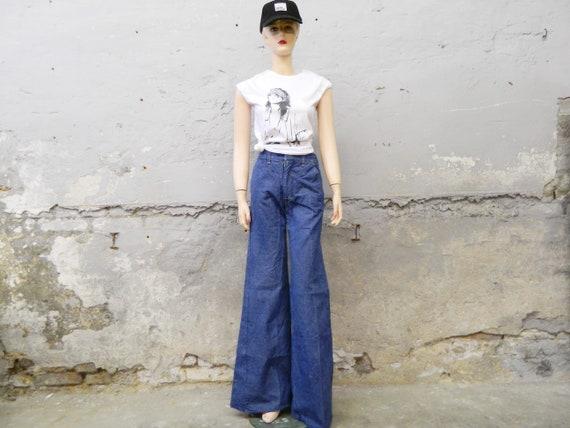 70s jeans/vinatge pants/batting jeans 1970s/blue jeans/wide jeans