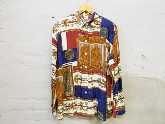 80s blouse/blouse patterned/Fabiani blouse/vintage blouse silk