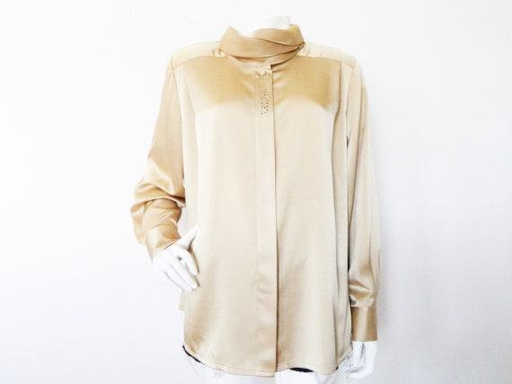 Vintage Blouse/1980 's blouse/vintage blouse/blouse Beige gold rhinestone/80s blouse