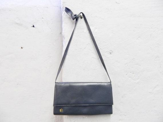 Vintage bag leather grey/handbag leather/flat bag 70s/grey 70s bag/leather bag vintage