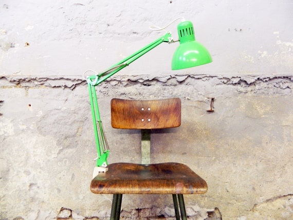 80s clamp/vintage lamp green/table lamp/shelf lamp