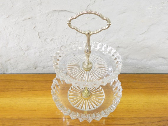 50s Glass Etagere/Crystal Glass Etagere/Confect Plate/Glass Stage/Glasemen/Glass Bowl