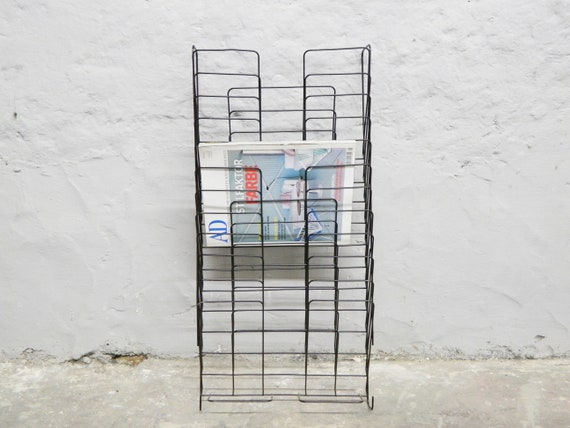 Magazine rack/newspaper stand metal/stand vinyl/vintage newspaper shelf/magazine holder