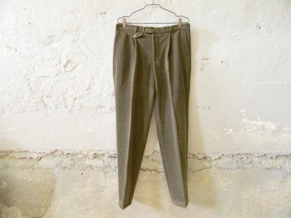 vintage corduroy pants / men's corduroy pants / green pants / winter pants / men's pants fine cord / 70s pants