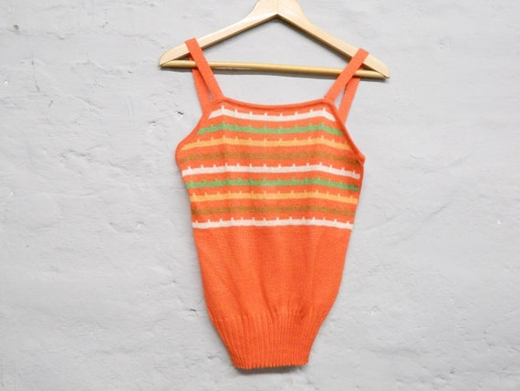70s top/vintage top/top orange/knitted top/1970s shirt