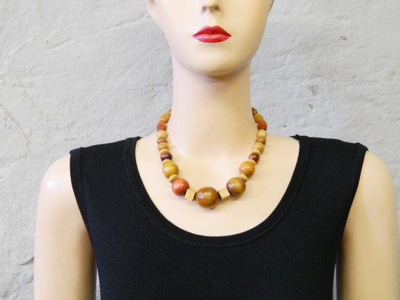 Wood necklace/pearl necklace wood/vintage necklace/costume jewelry/80s necklace nature