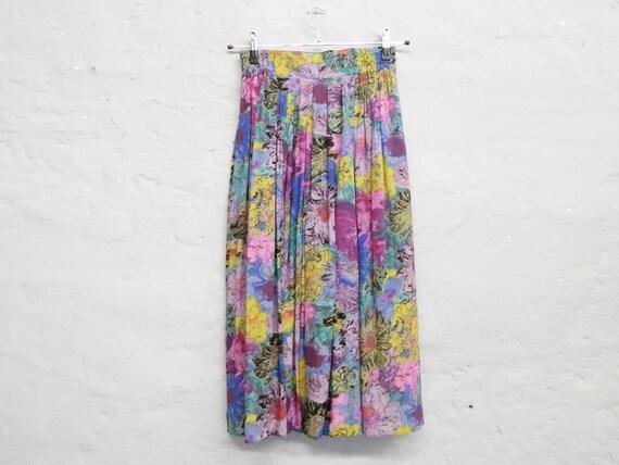 80s Skirt/Summer skirt/floral Skirt/Vintage Skirt Floral Pattern/1980s skirt