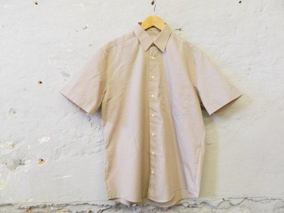 70s men's shirt / short sleeve shirt / vintage shirt light brown / summer shirt men