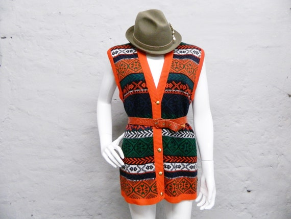 Long vest/costume vest/80s vest/knit vest colorful/costumes vest/pullunder