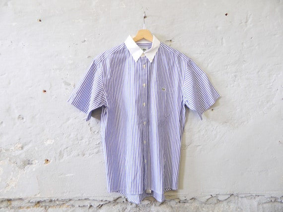 Lacoste shirt/vintage shirt/men's shirt striped, 80s shirt blue white