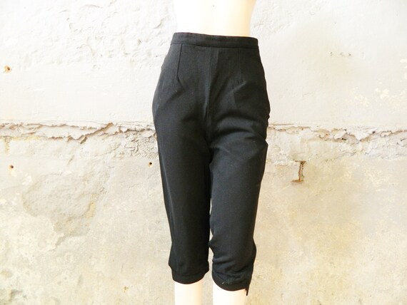 50s knickerbocker / vintage pants black / women's pants 1950s