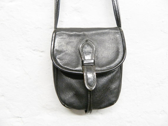 Small leather bag/black bag/vintage bag black/70s handbag/bag black leather