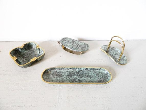 Desk Set brass/vintage desk/writing utensils/50s Deco/ashtray Brass/Pen Tray