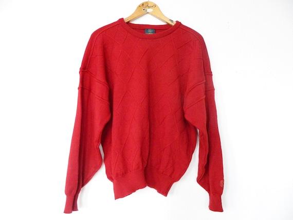 70s jumper Clipper/vintage sweater/Men's sweater red/vintage sweater/red sweater wool