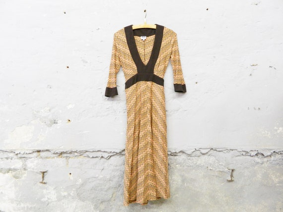 90s dress x & o/vintage dress colorful/dress long sleeved/V-neck/stretch dress